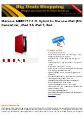 Marware ahhb17 c.e.o. hybrid for the new i pad (4th generation), ipad 3 & ipad 2, red