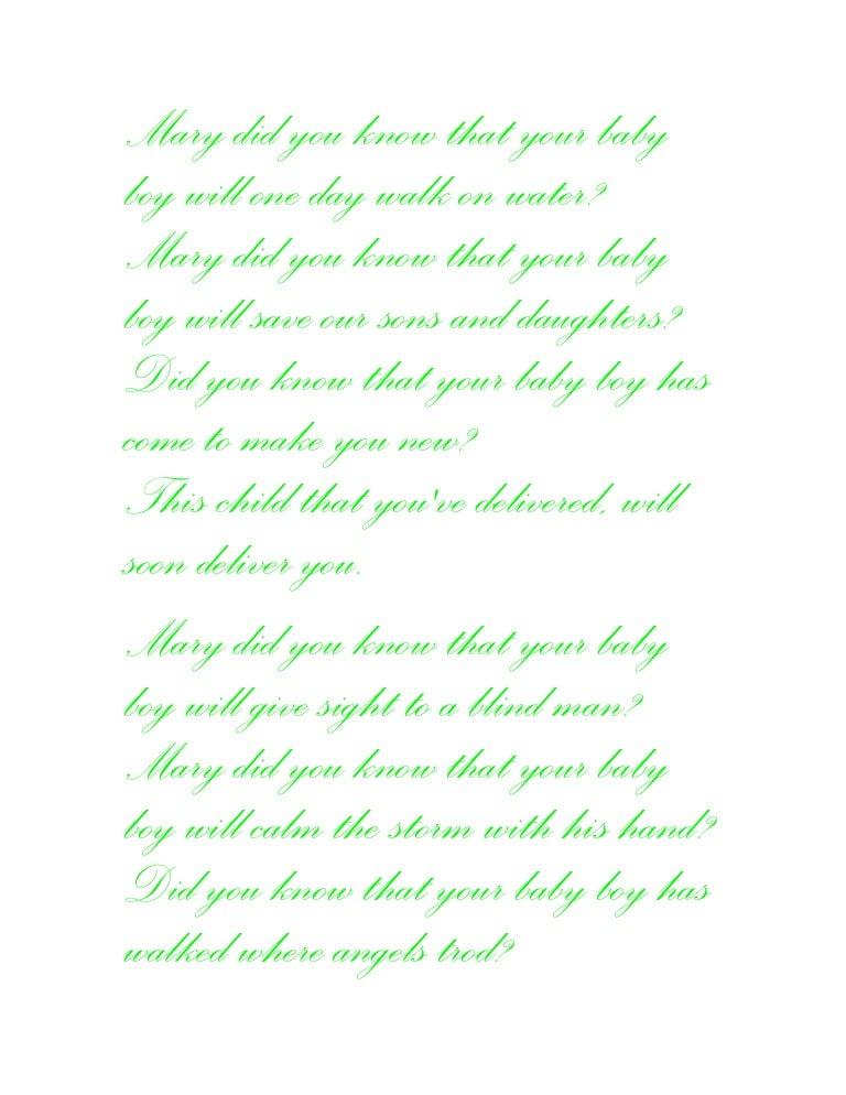 Lyric mary did u know lyrics : Mary did you know