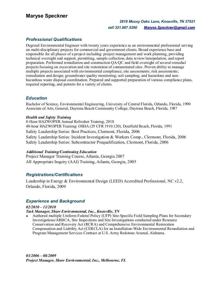 Maryse Speckner Resume 2012