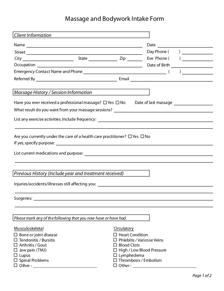 Massage Intake Form 062004 – Massage Intake Form