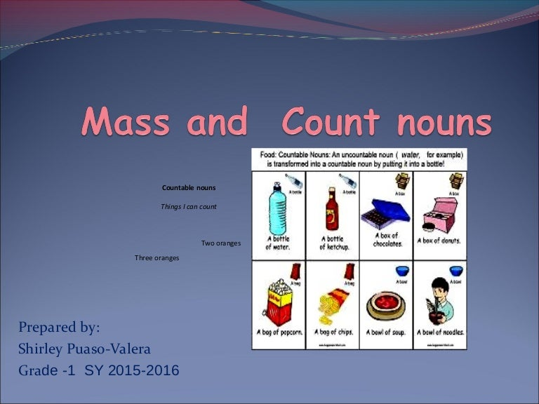 Countable and uncountable nouns.