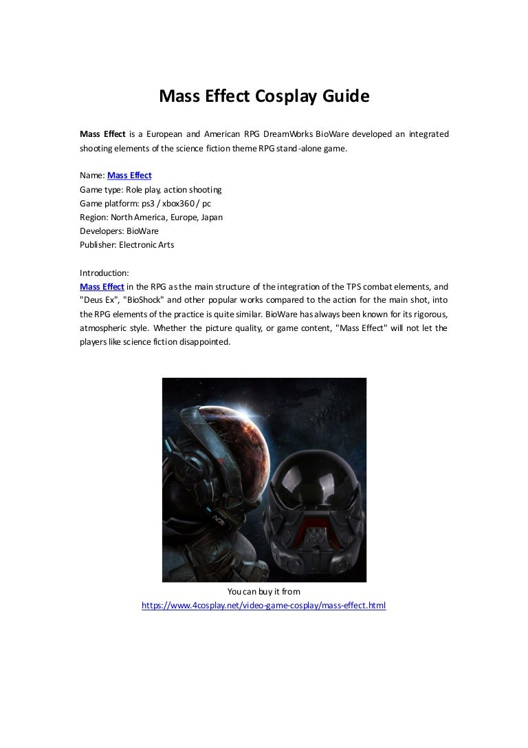 Mass effect cosplay guide