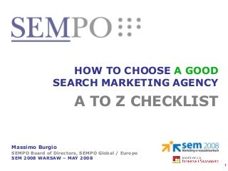How To Choose a Search Marketing Agency, Massimo Burgio Sempo