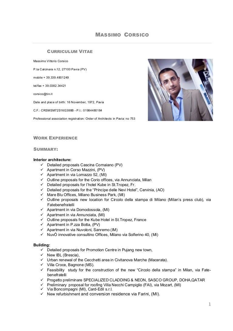 Massimo Corsico CV