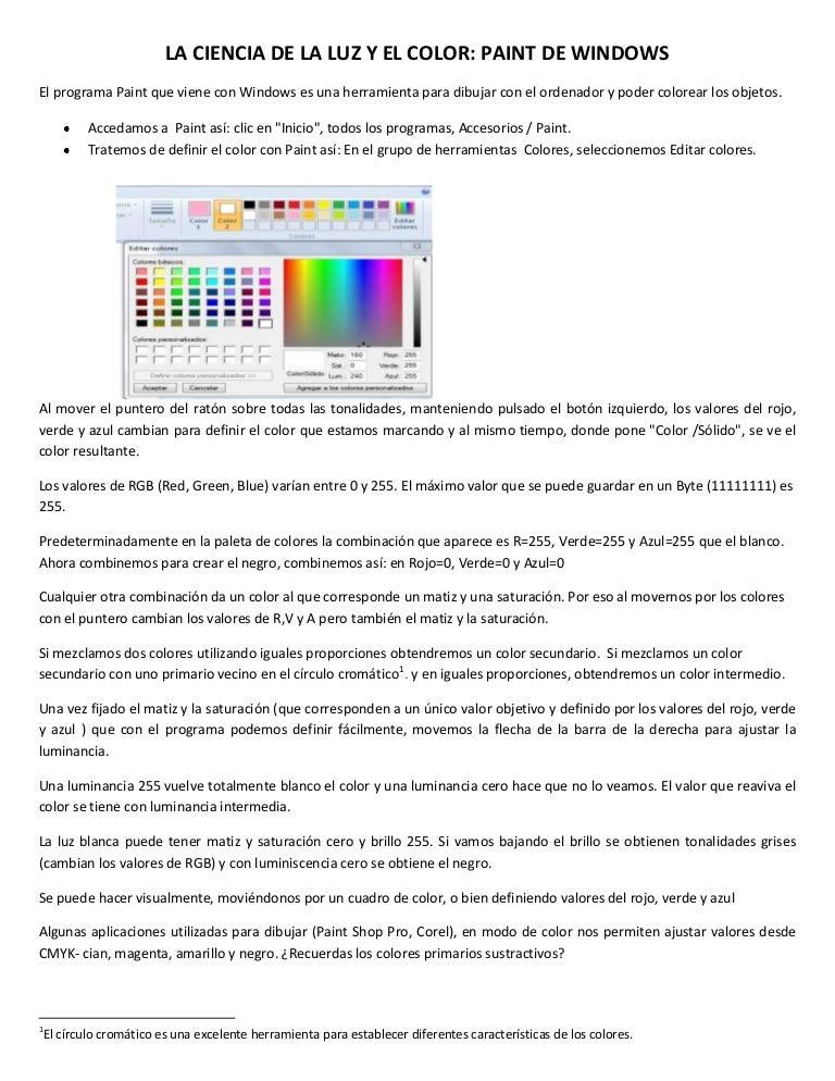 Mas sobre la teoria del color