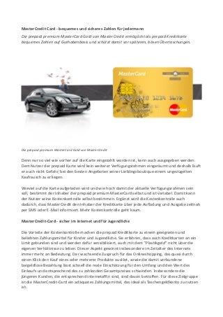 MasterCredit Card - bequemes und sicheres Zahlen für jedermann