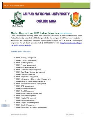 Master degree from jaipur national university - jnu online mba