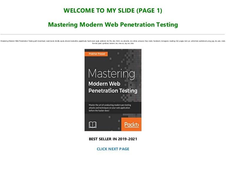 Free [READ] Mastering Modern Web Penetration Testing TXT,PDF,EPUB