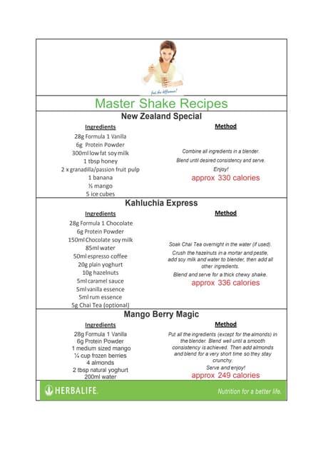 The 3 Master Herbalife shake recipes