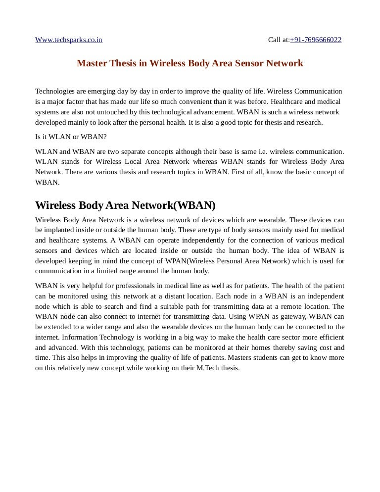 Master thesis wireless networking