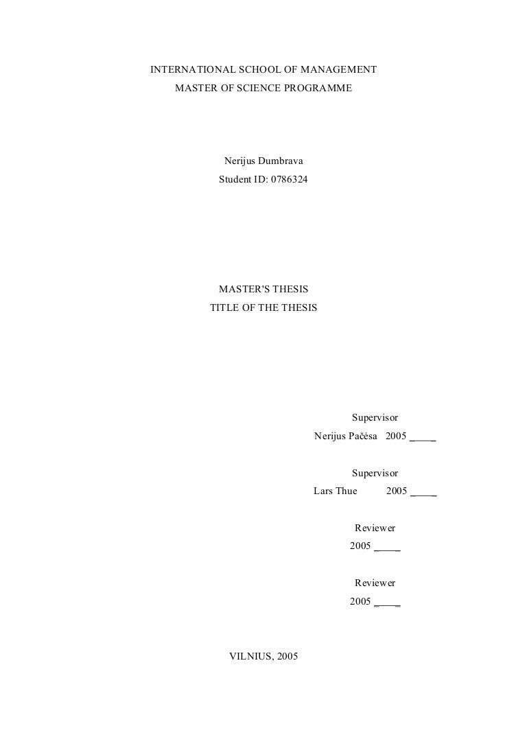 Master thesis from