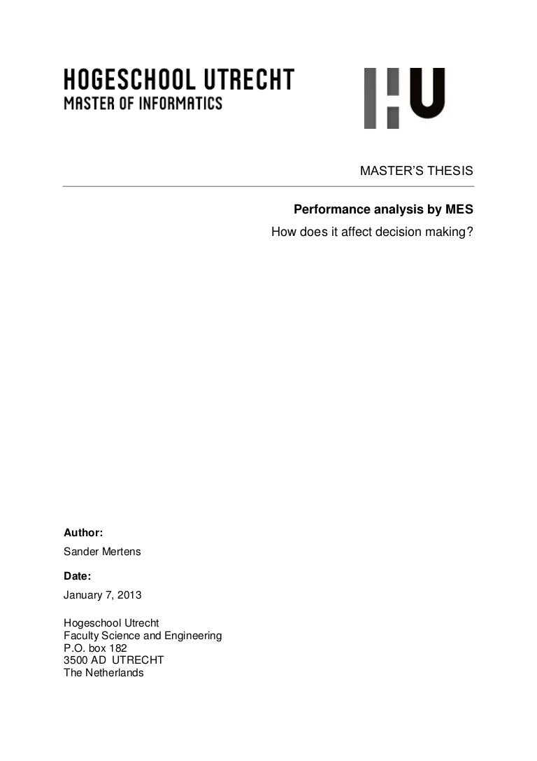 Masters thesis analyse