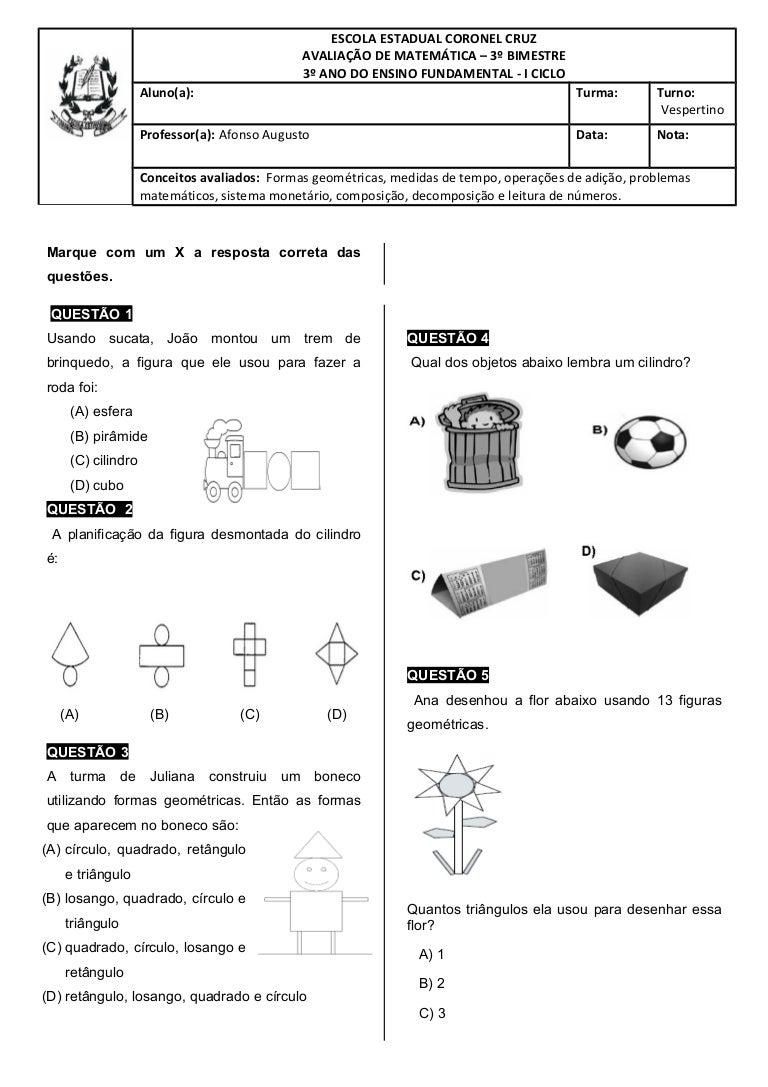 Avaliacao De Matematica 3º Ano Do Ensino Fundamental 1