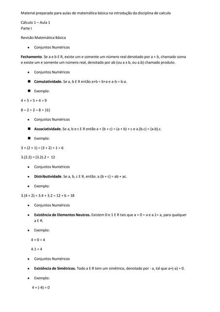 Material para aulas de matemática básica na introdução da disciplina de calculo