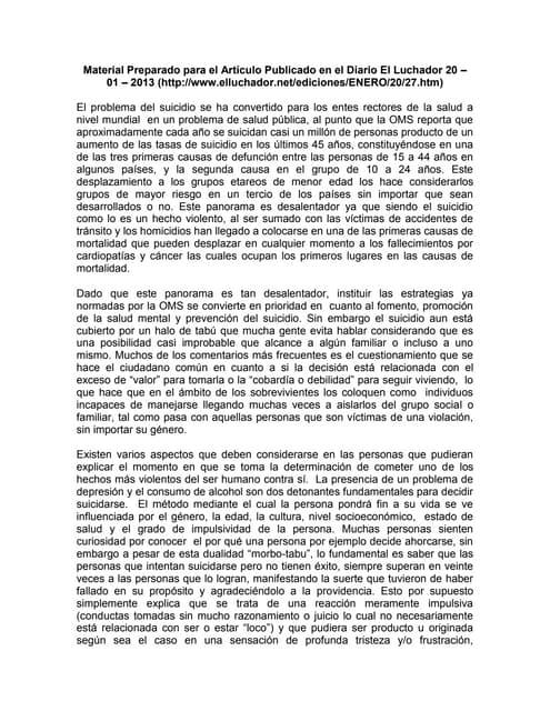 Material acerca del Suicidio preparado para el artículo publicado en el diario el luchador 20