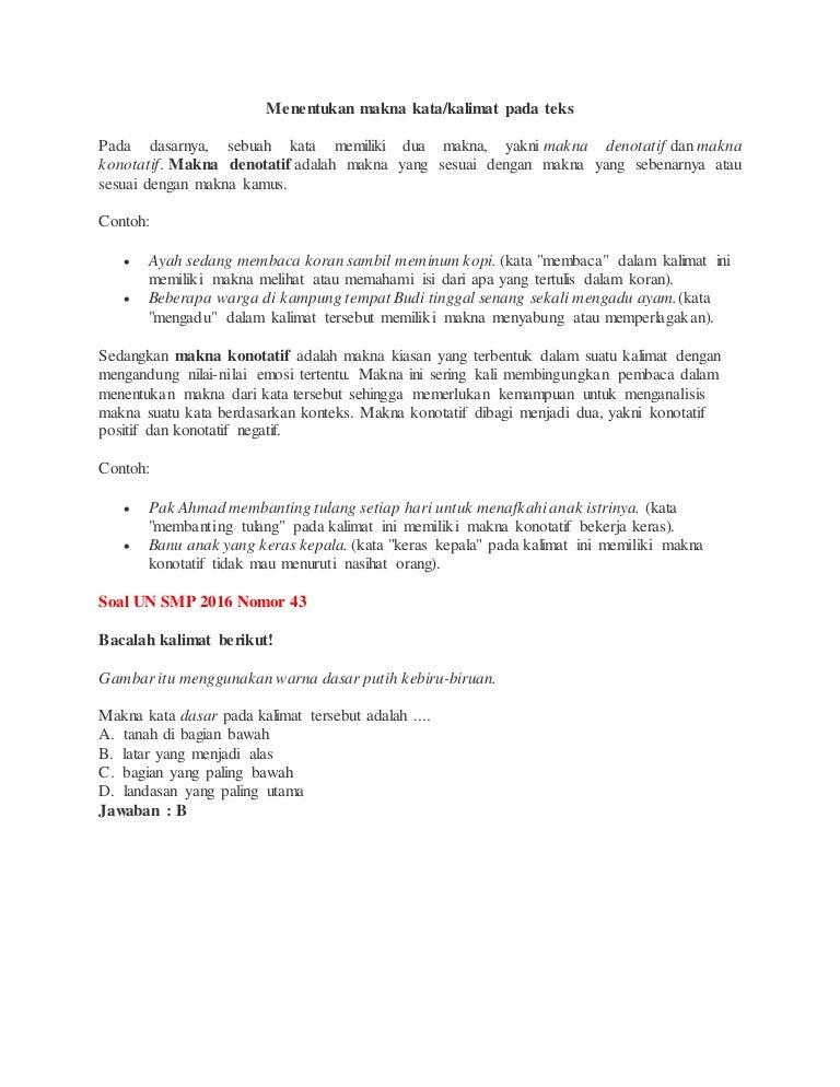 Materi Bahasa Indonesia Un Smp