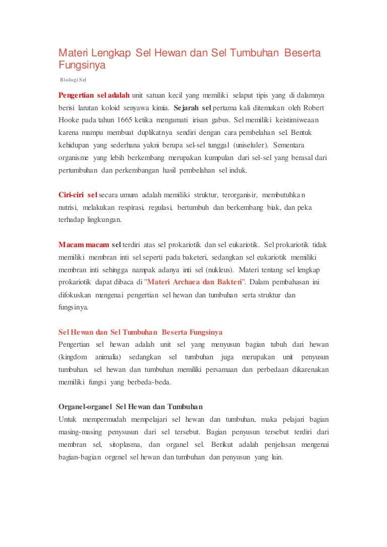 Materi Lengkap Sel Hewan Dan Sel Tumbuhan Beserta Fungsinya 2