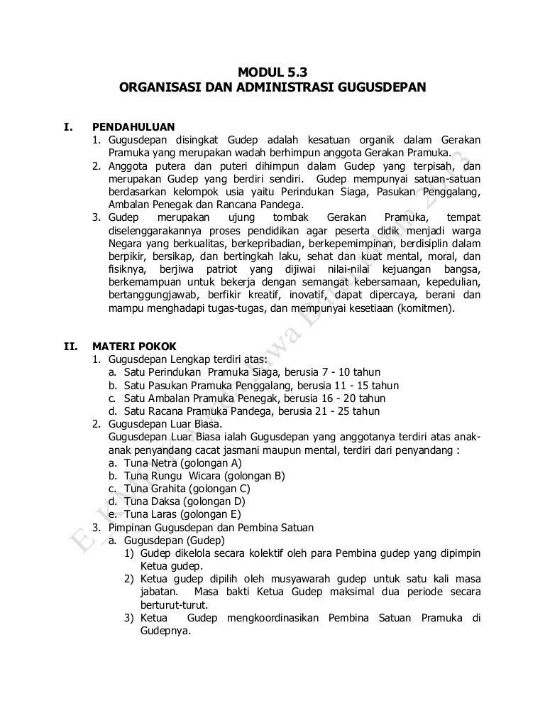 Materi modul 52 organisasi dan administrasi gugus depan