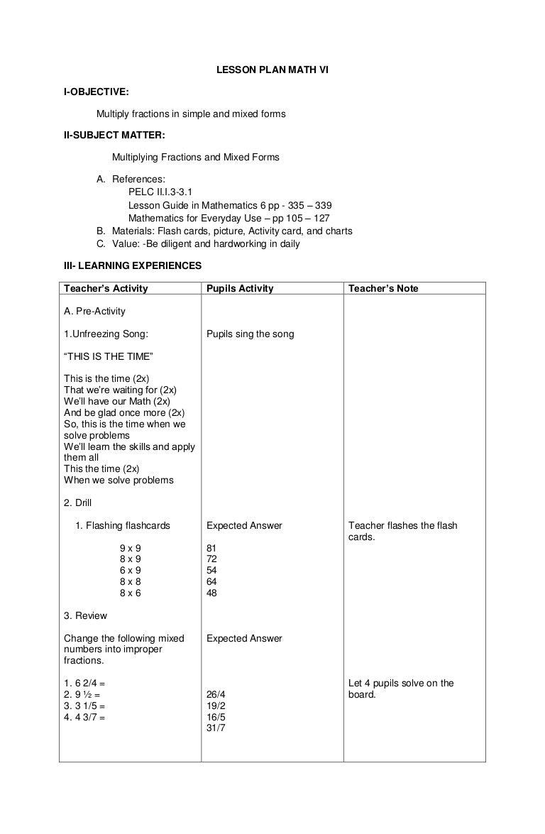 Worksheet Math 6 detailed lesson plan math 6