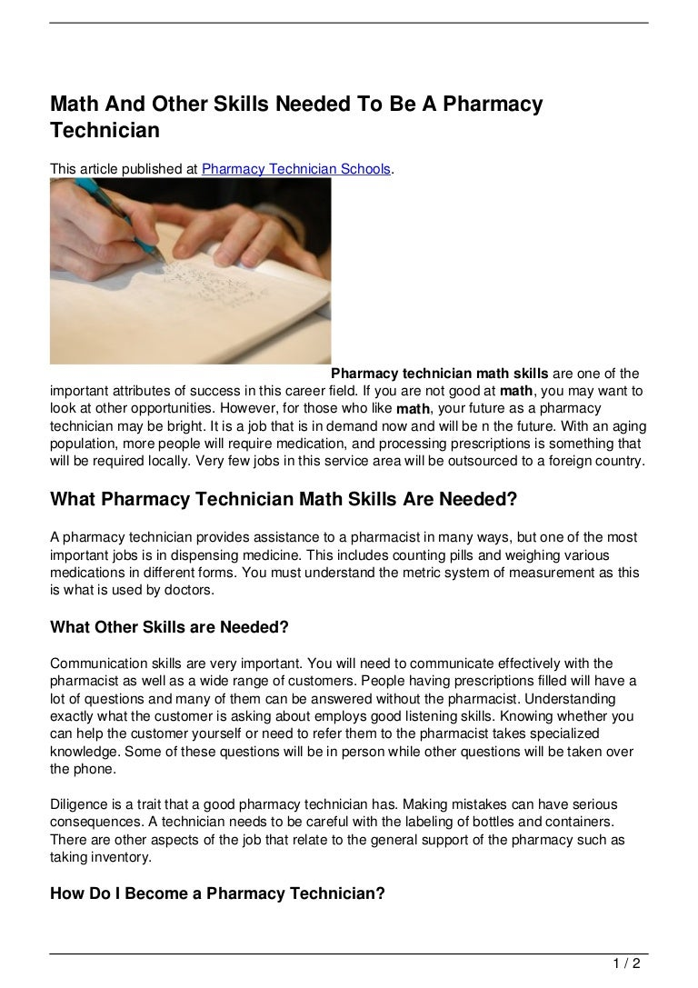 math and other skills needed to be a pharmacy technician 120717104627 phpapp01 thumbnail 4 jpg cb 1342522003
