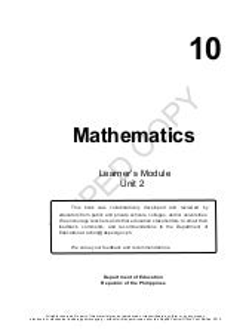 Mathematics 10 Learning Modules Quarter 2