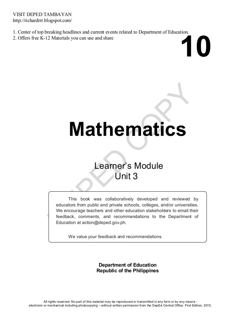 Math Learners Material Grade 10 Quarter 3