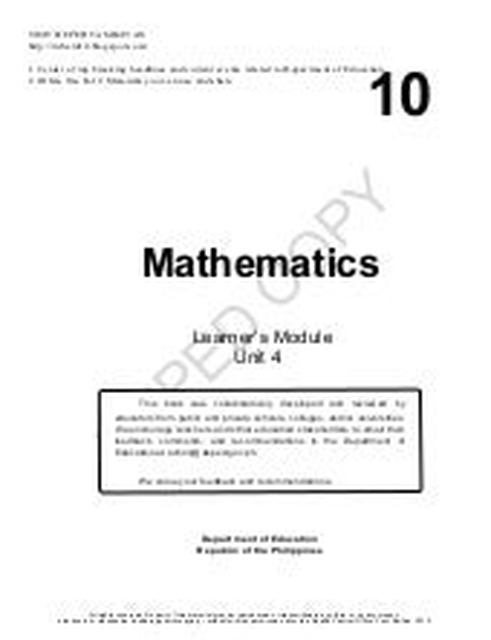 Mathematics 10 Learning Modules Quarter 4