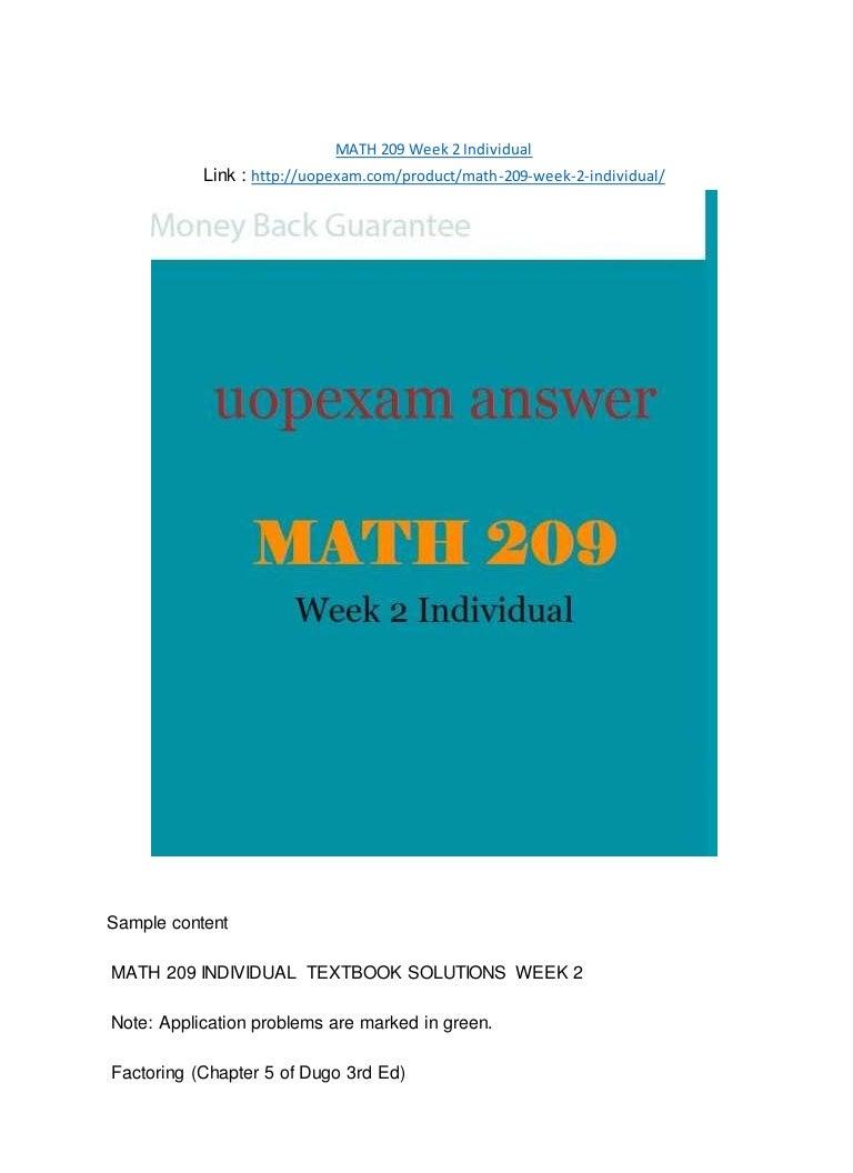MATH 209 Week 2 Individual 2015 version