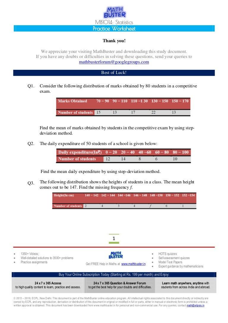 MathBuster Practice Worksheet CBSE Class 10 Chapter 14