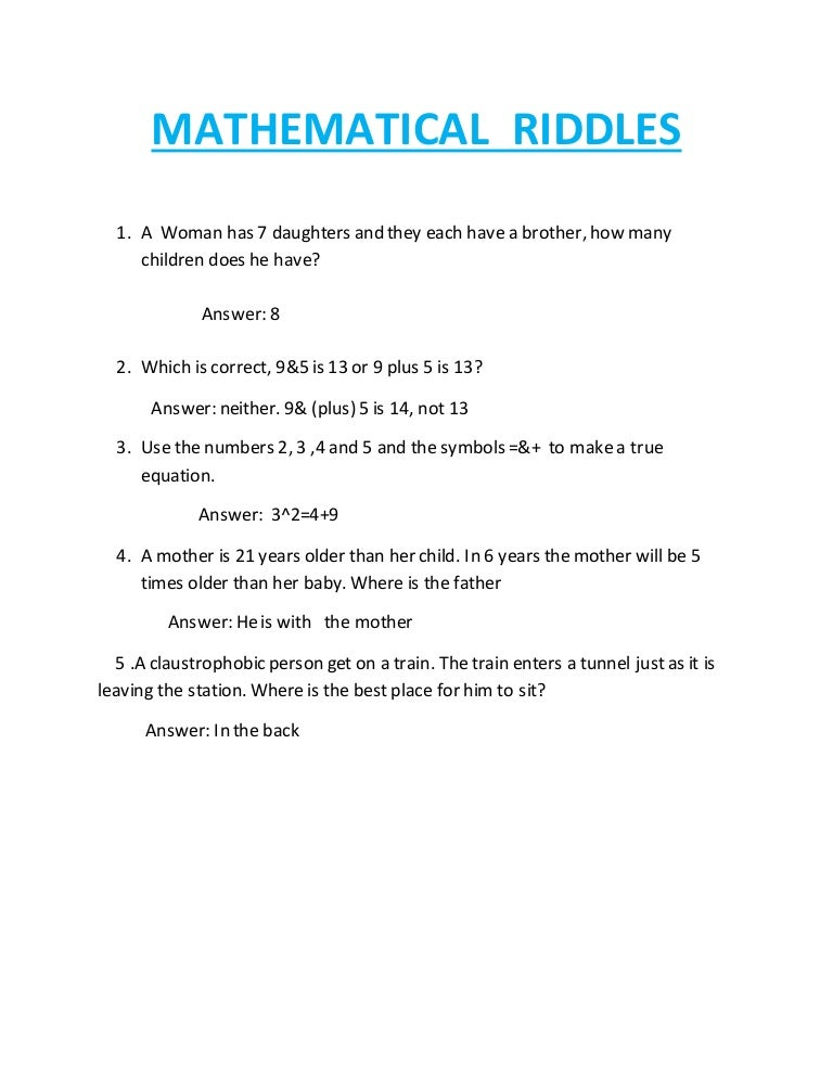 Mathematical riddles