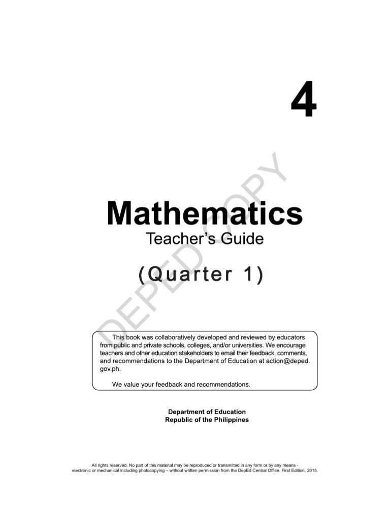 K TO 12 GRADE 4 TEACHER S GUIDE IN MATHEMATICS Q1 Q4
