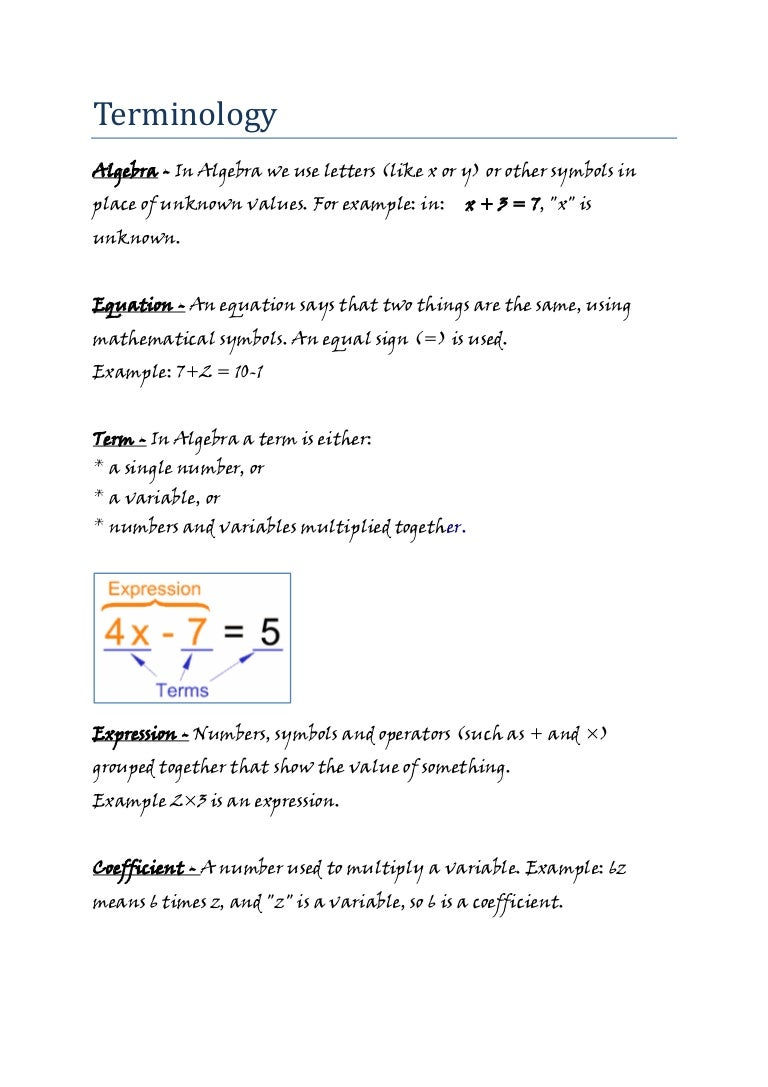 Mathematics algebra info sheet terminology jw biocorpaavc Choice Image