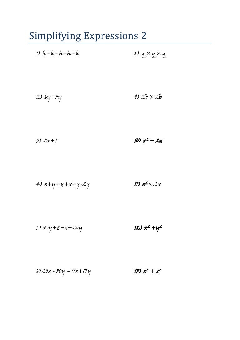 - Mathematics - Algebra - Worksheet - Simplifying Expressions 2 (jw)
