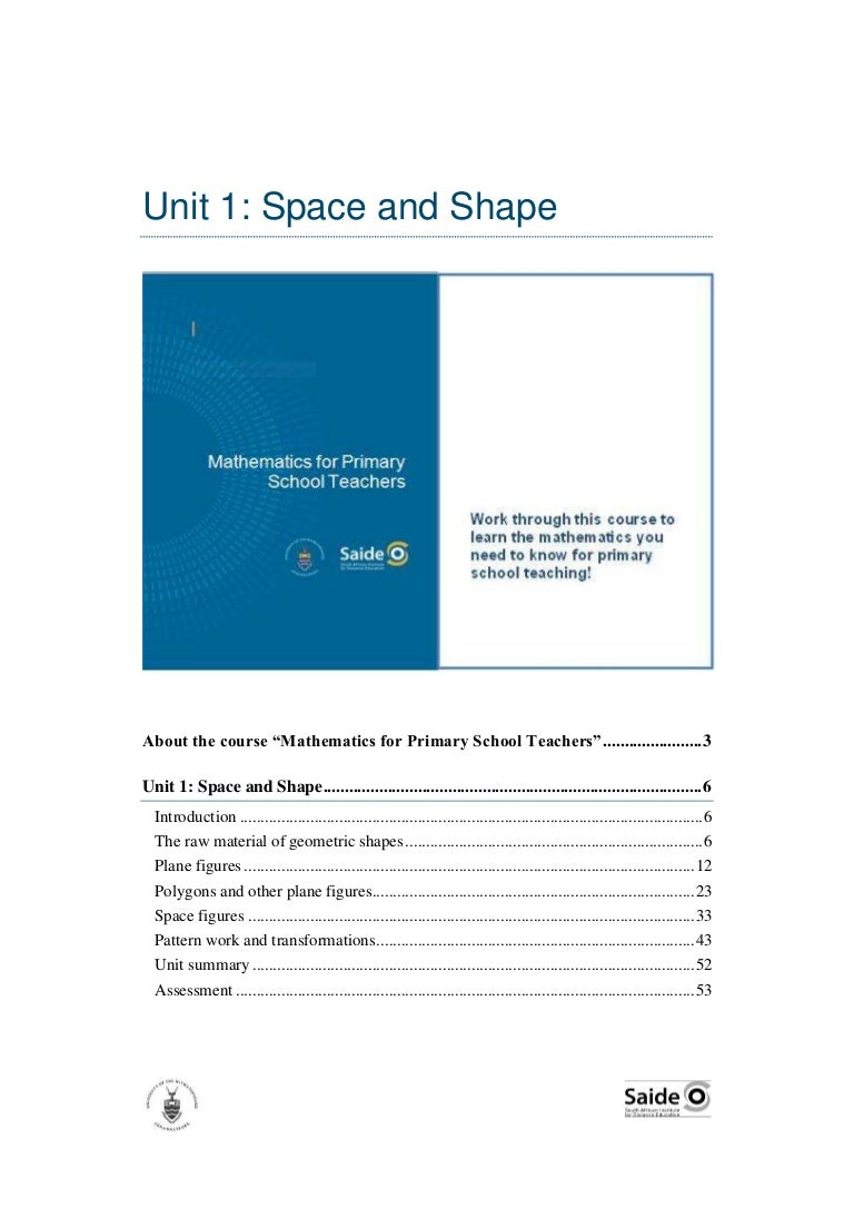 Mathematics for Primary School Teachers. Unit 1: Space and Shape