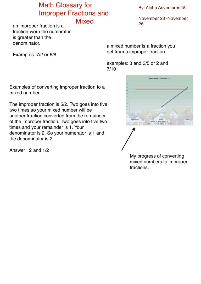 math glossary mixed numbers and improper fractions