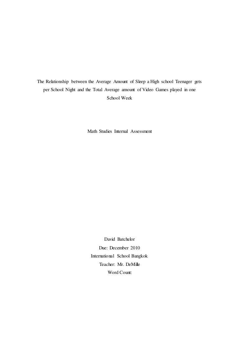 Math Statistics IA December 2010