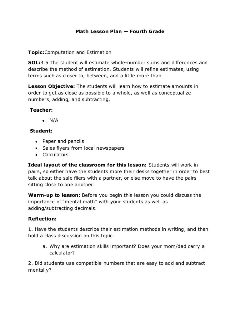Math Lesson Plan Fourth Grade 12