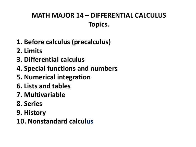 Math major 14 differential calculus pw
