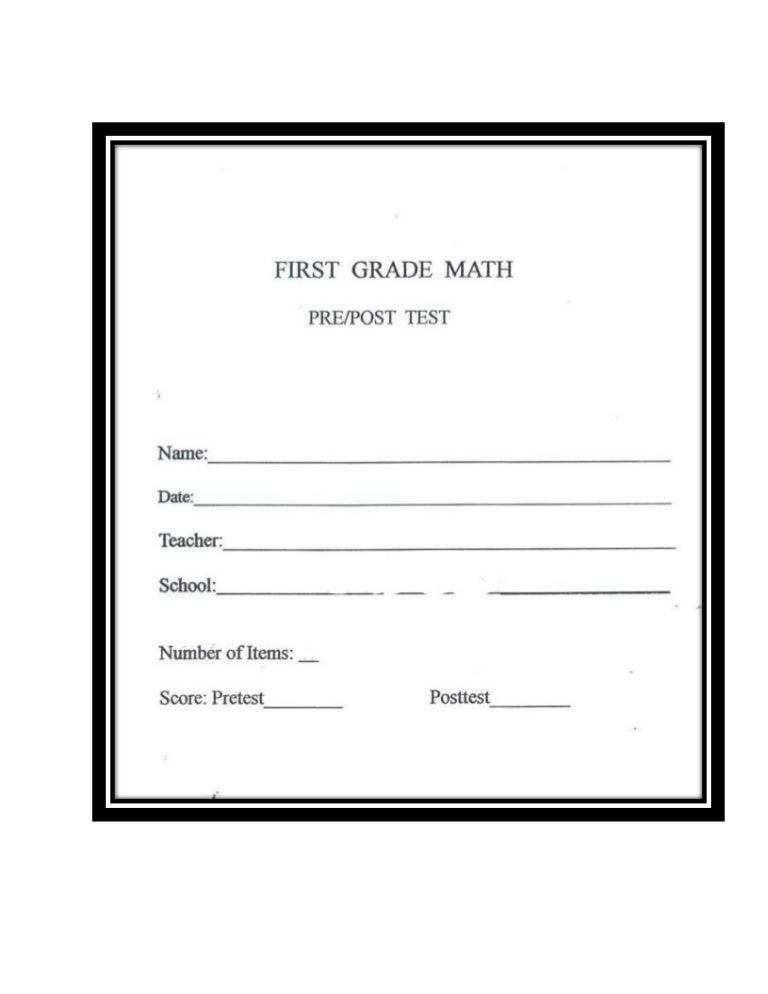 MATH: POST TEST 1ST GRADE