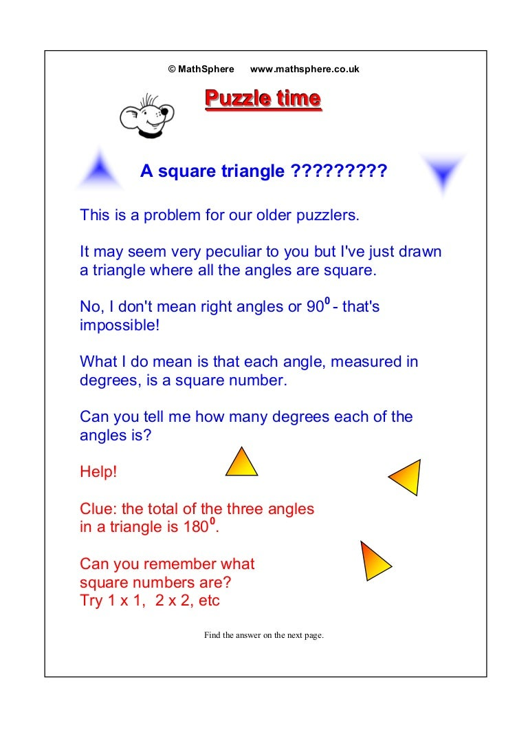 Maths Puzzle05squaretriangle Square Tracing Worksheet