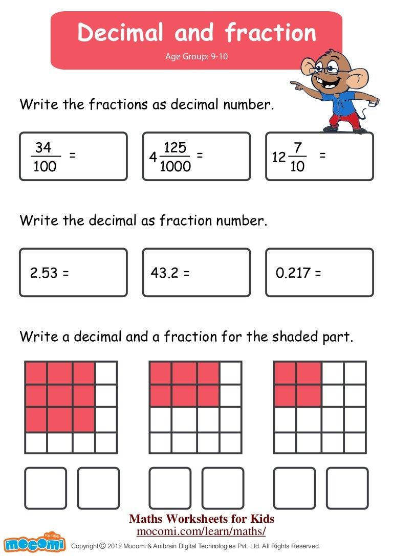 Decimal and Fraction Maths Worksheets for Kids Mocomi – Write Decimals As Fractions Worksheet