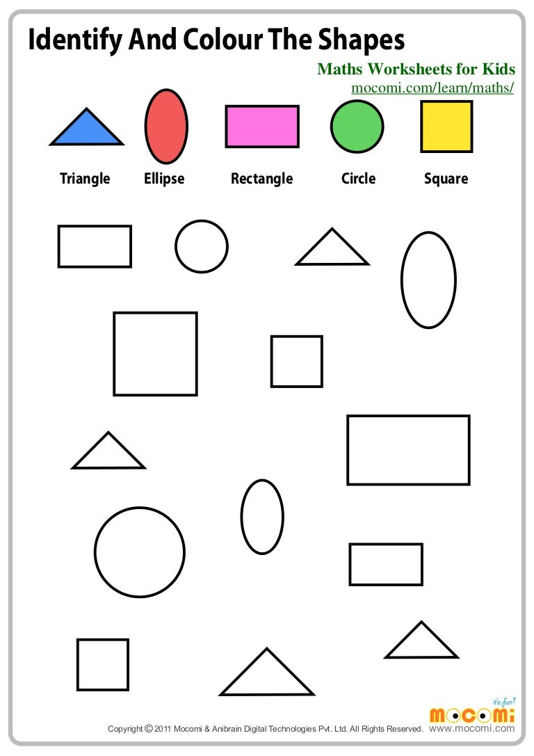 identify and colour the shapes  u2013 maths worksheets for kids