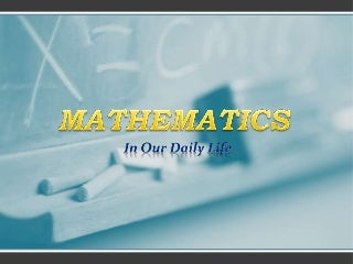 uses of maths in our daily life