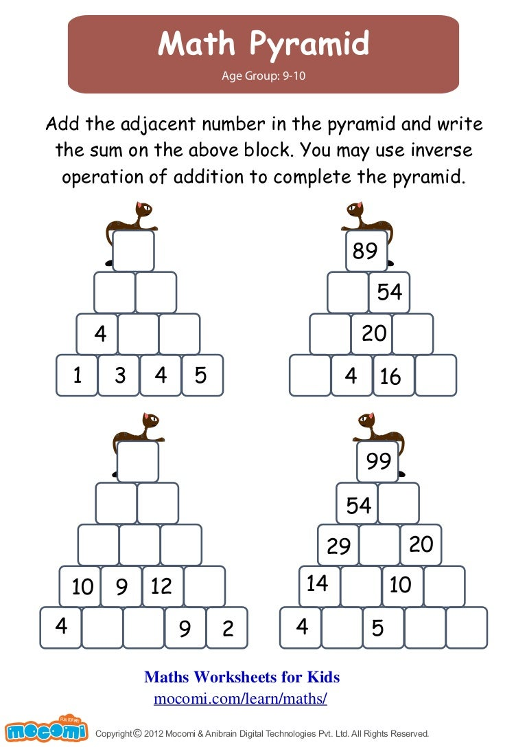Match Pyramid – Maths Worksheets for Kids – Mocomi.com