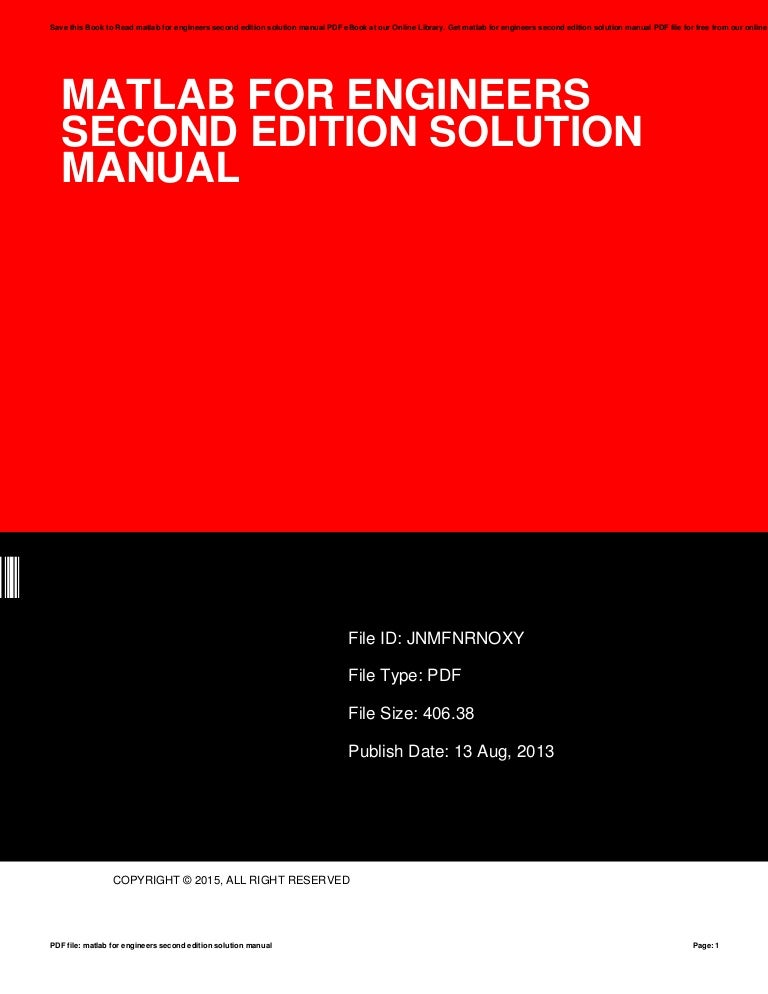Matlab For Engineers Second Edition Solution Manual