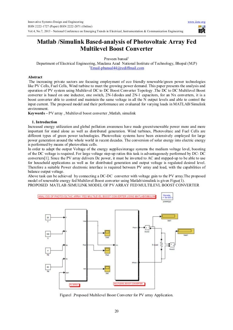Matlab simulink based-analysis of photovoltaic array fed multilevel b…