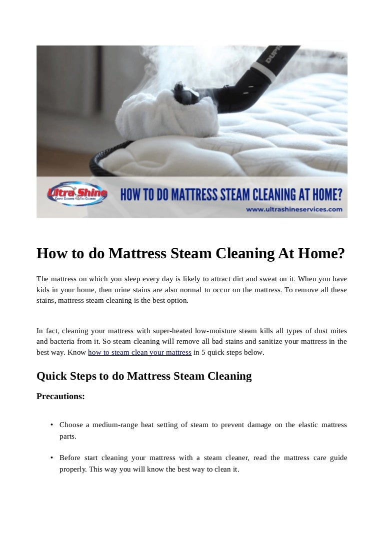 How To Do Mattress Steam Cleaning At Home