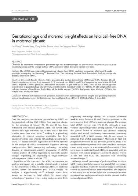 Mat weight ga fetal frac nipt pnd