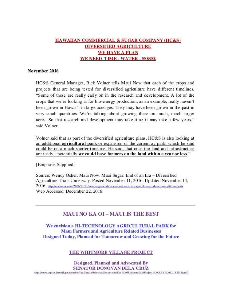 f515607297da MAUI - HAWAIIAN COMMERCIAL SUGAR CO - DIVERSIFIED AGRICULTURE - MAUI …