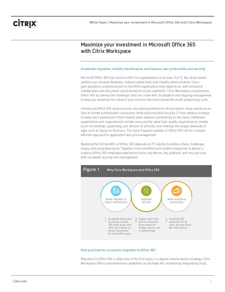 Maximize your Investment in Microsoft Office 365 with Citrix Workspac…